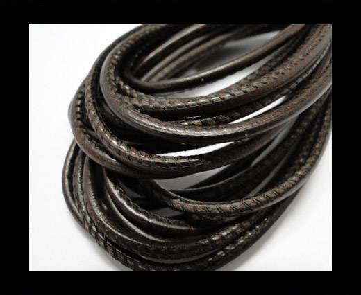 Round stitched nappa leather cord Vintage dark brown-2,5mm