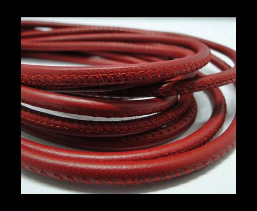 Buy Round stitched nappa leather cord Red -4mm at wholesale prices