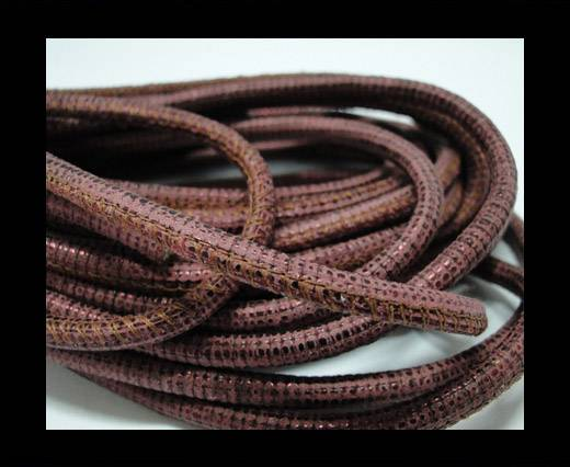 Buy Round stitched nappa leather cord Vintage Red-4mm at wholesale prices