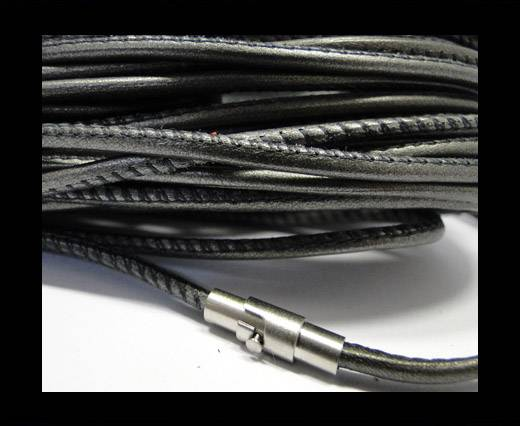 Round stitched nappa leather cord grey-2,5mm