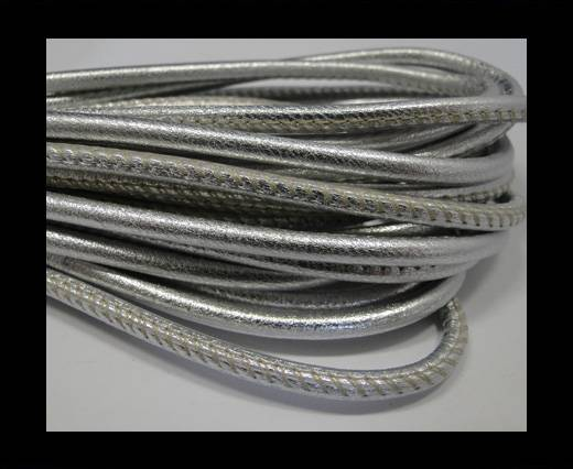 Round stitched nappa leather cord Metallic Silver  -4mm