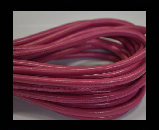 Round stitched nappa leather cord Pink -6mm