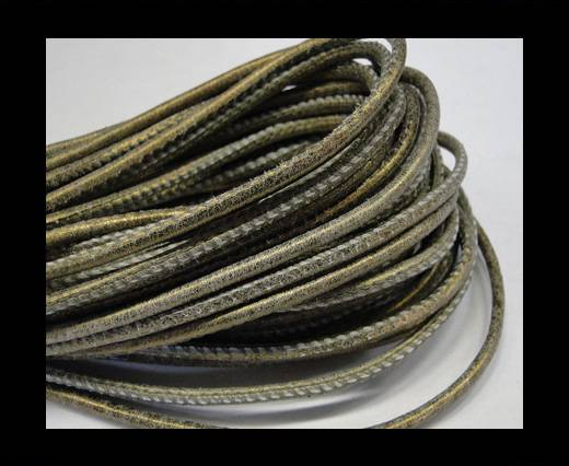 Round stitched nappa leather cord 2,5mm-Antique gold