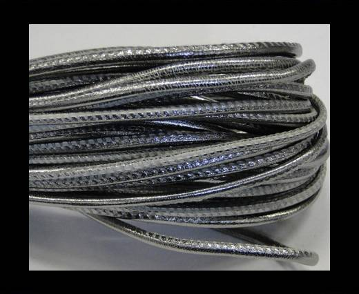 Round stitched nappa leather cord 2,5mm-Dark silver