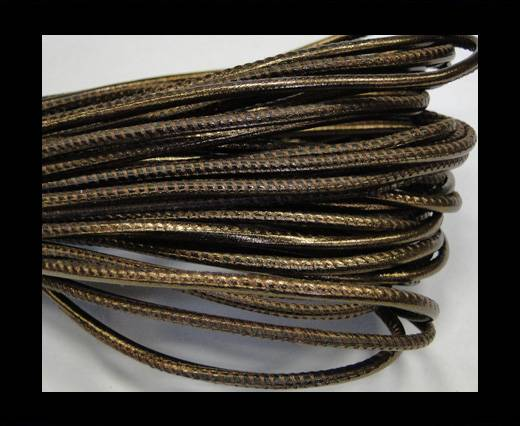 Round stitched nappa leather cord 2,5mm-Metallic bronze