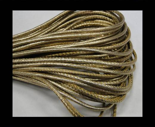 Round stitched nappa leather cord 2,5mm-Metallic gold