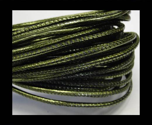 Round stitched nappa leather cord 2,5mm-Metallic green