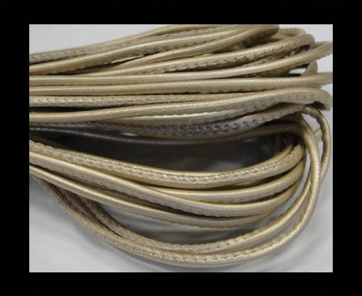 Round stitched nappa leather cord 2,5mm-Metallic ivory
