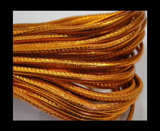 Round stitched nappa leather cord 2,5mm-Metallic orange