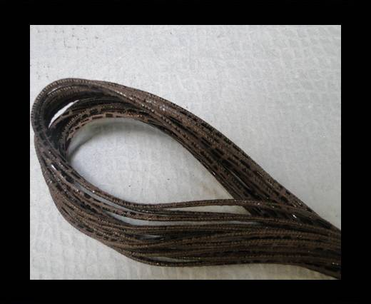 Round stitched nappa leather cord 2,5mm - Stitch Lizzard Brown