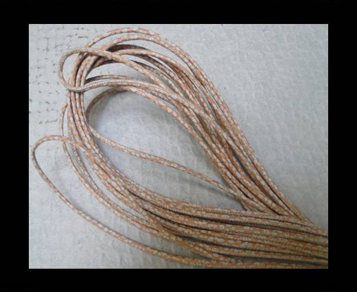 Round stitched nappa leather cord 2,5mm - Strobel Snake Patch Style Beige