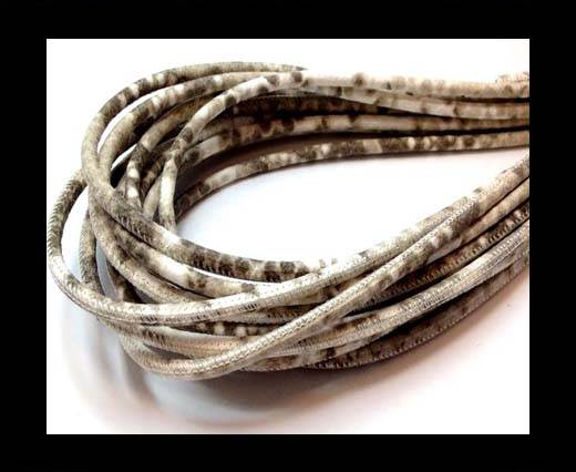 Buy Round stitched nappa leather cord  4mm Python Beige at wholesale prices