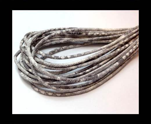 Buy Round stitched nappa leather cord 4mm Python Light Grey at wholesale prices