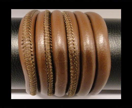 Round stitched nappa leather cord Light Brown-6mm