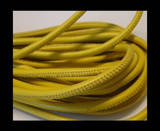 Round stitched nappa leather cord Lime-4mm