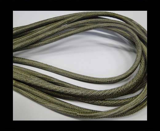Buy Round stitched nappa leather cord Lizard-Style -Olive-4mm at wholesale prices