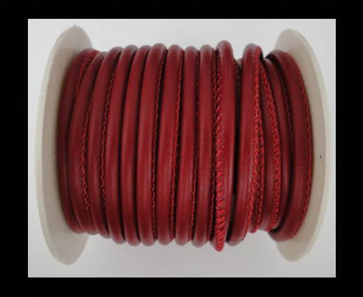 Round stitched nappa leather cord Maroon-4mm