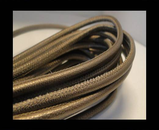 Buy Round stitched nappa leather cord Bronze-4mm at wholesale prices
