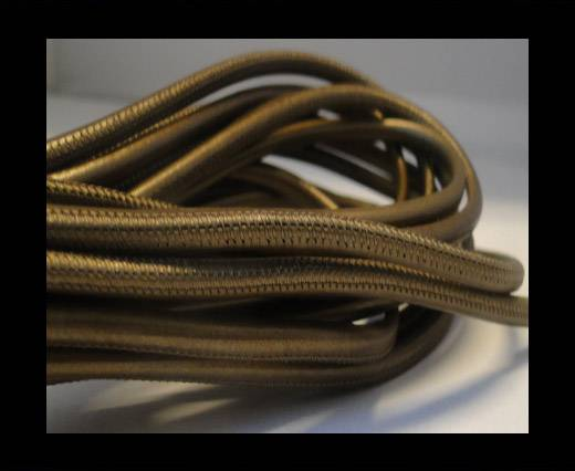 Buy Round stitched nappa leather cord Matte Bronze-4mm at wholesale prices