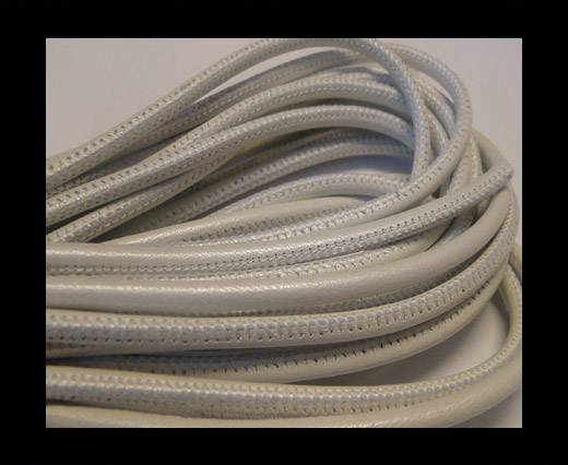Buy Round stitched nappa leather cord White-4mm at wholesale prices