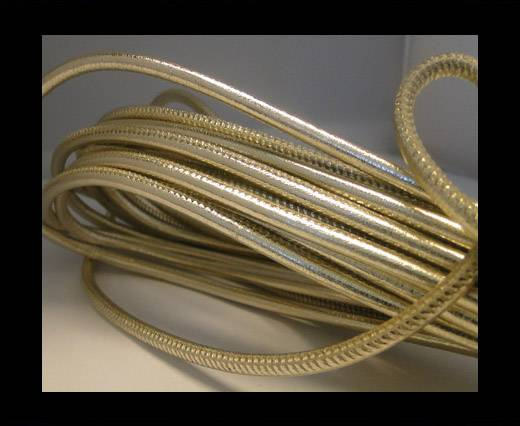 Buy Round stitched nappa leather cord Light Gold-4mm at wholesale prices