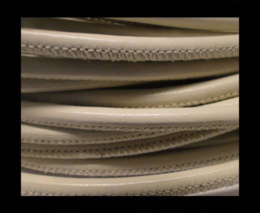 Buy Round stitched nappa leather cord Creme-4mm at wholesale prices