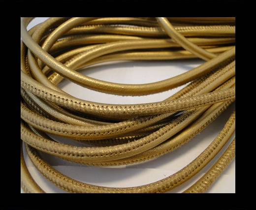 Buy Round stitched nappa leather cord Matt Gold-4mm at wholesale prices