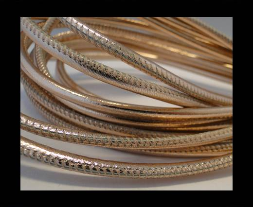 Buy Round stitched nappa leather cord Rose Gold-4mm at wholesale prices