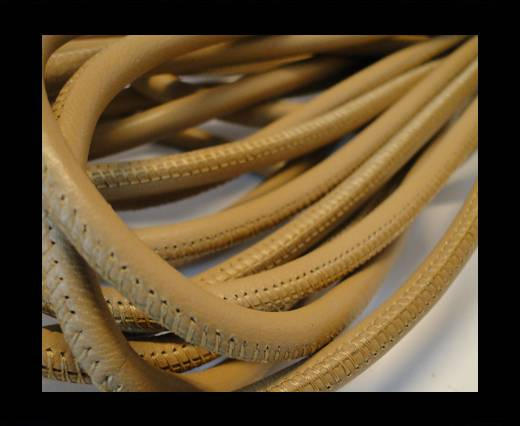 Round stitched nappa leather cord Beige-6mm