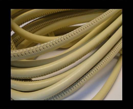 Round stitched nappa leather cord Dark Cream-6mm