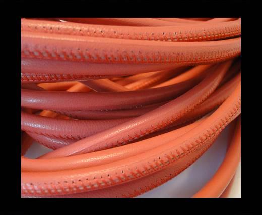 Round stitched nappa leather cord Dark Pink-6mm