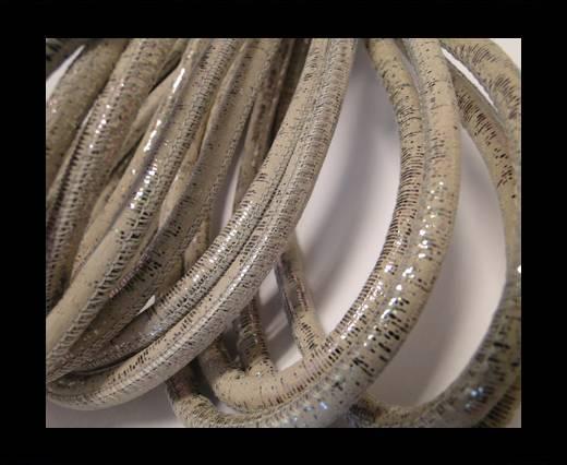 Round stitched nappa leather cord Metallic Grey-6mm