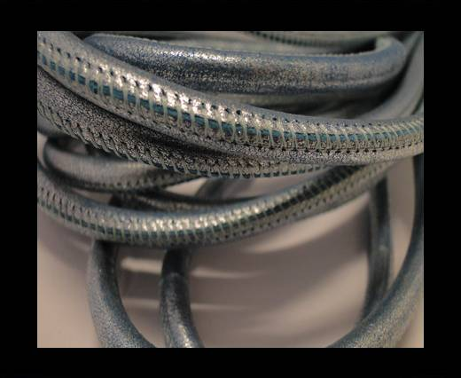 Round stitched nappa leather cord Metallic Silver Blue-6mm
