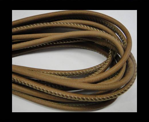 Round stitched nappa leather cord Pale brown-4mm