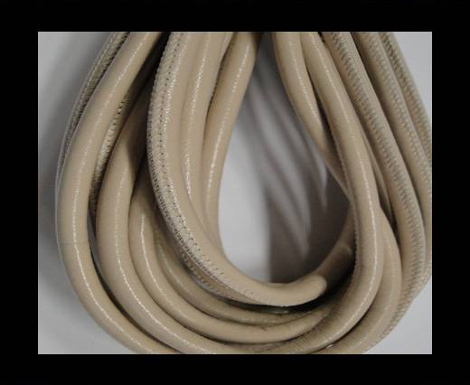 Round stitched nappa leather cord Beige -6mm