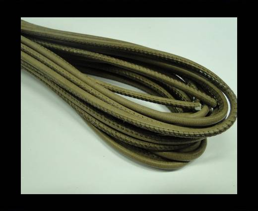 Buy Round stitched nappa leather cord Clay Brown-4mm at wholesale prices