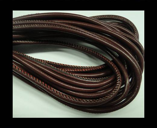 Buy Round stitched nappa leather cord Dark Red-4mm at wholesale prices