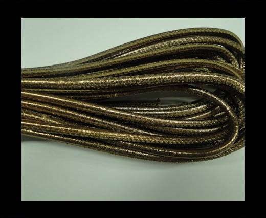Buy Round stitched nappa leather cord Dark Rose Gold-4mm at wholesale prices