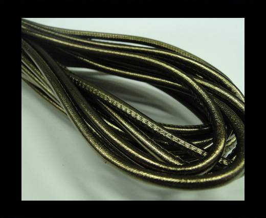 Buy Round stitched nappa leather cord Metallic Bronze-4mm at wholesale prices