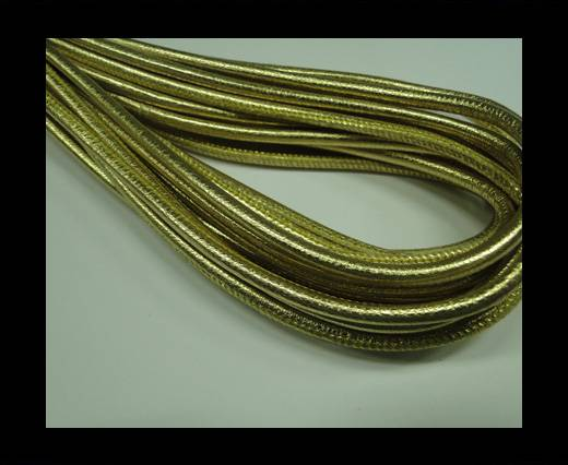 Buy Round stitched nappa leather cord Yellow Gold-4mm at wholesale prices