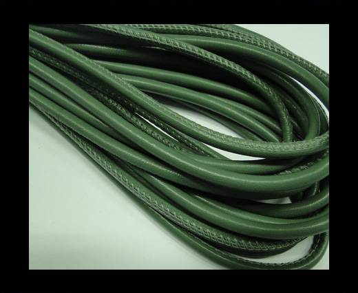Buy Round stitched nappa leather cord Leaf Green-4mm at wholesale prices