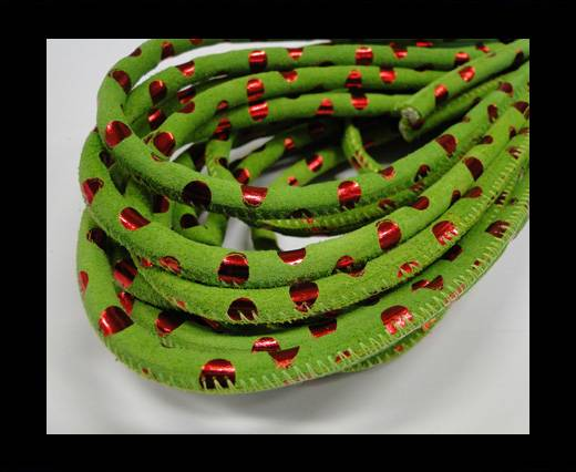 Round stitched nappa leather cord Green-Red-6mm