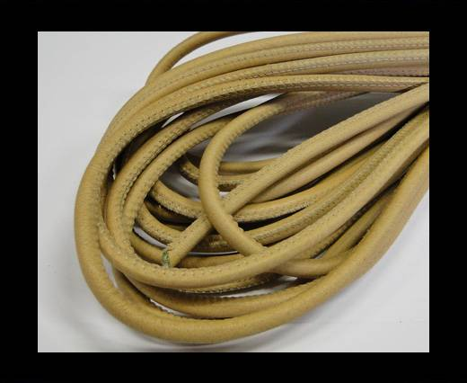 Round stitched nappa leather cord Ochre Yellow-6mm