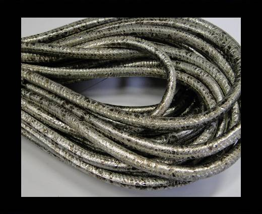 Round stitched nappa leather cord Silver Antique-6mm