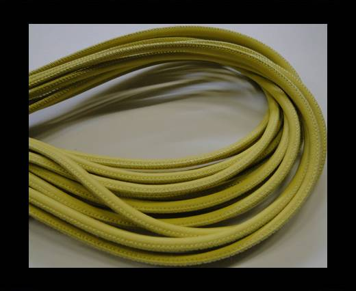 Buy Round stitched nappa leather cord -4mm-yellow at wholesale prices