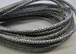 Round stitched nappa leather cord 4mm-raza grey paillettes white