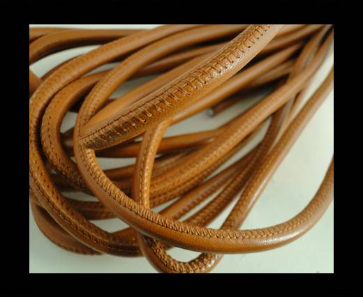 Buy Round stitched nappa leather cord Saddle Brown-4mm at wholesale prices