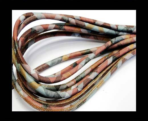 Buy Round stitched nappa leather cord Scotish Print 3-6mm at wholesale prices
