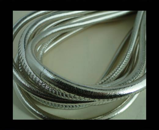 Buy Round stitched nappa leather cord Silver-4mm at wholesale prices