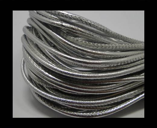 Round stitched nappa leather cord Silver -2,5mm